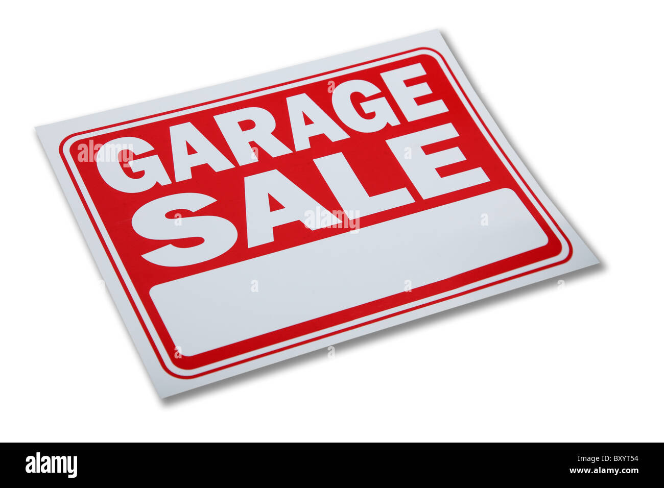 Garage sale sign on white background - Stock Image