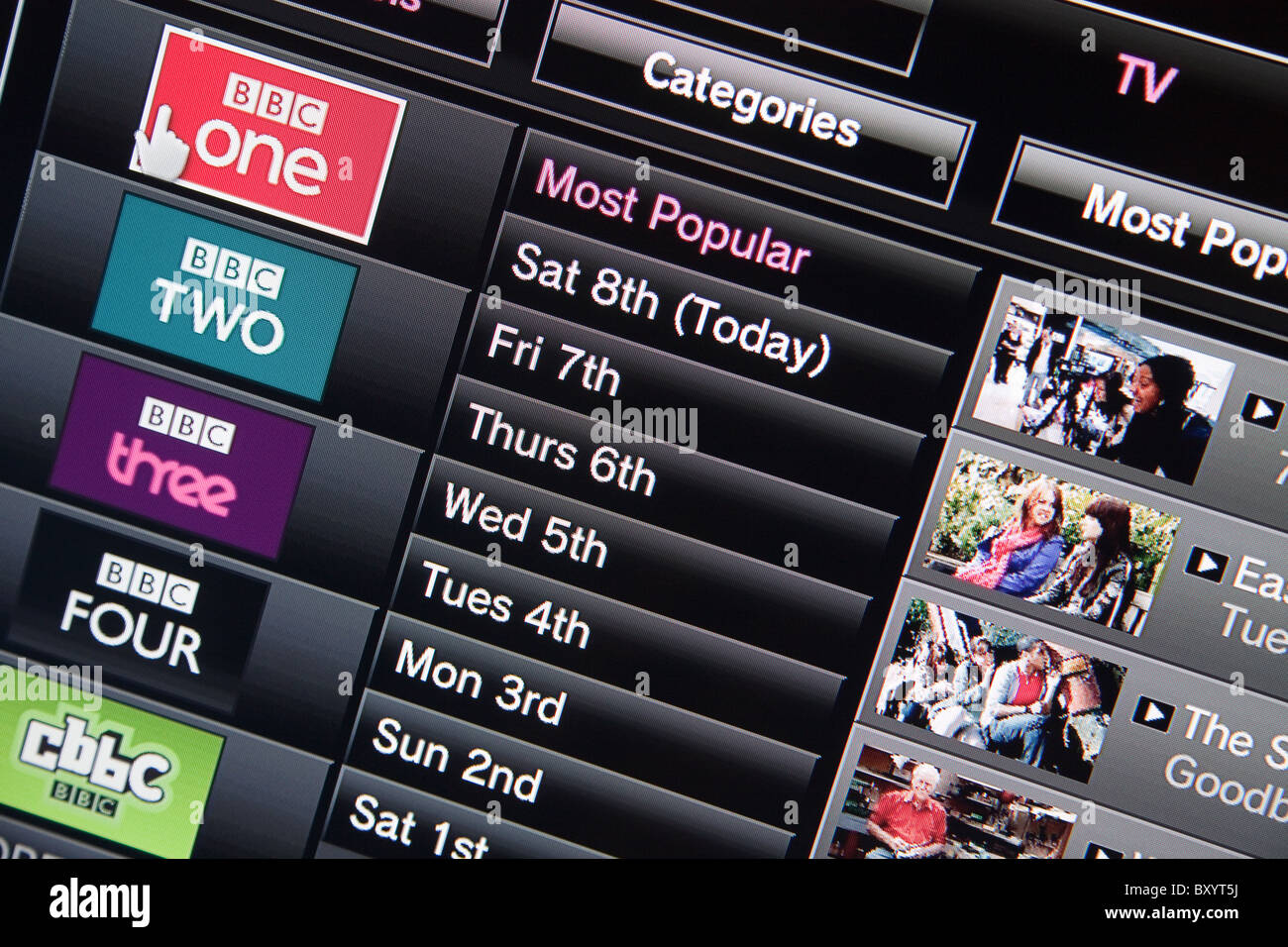 BBC iPlayer On Demand service as displayed on a HD High Definition
