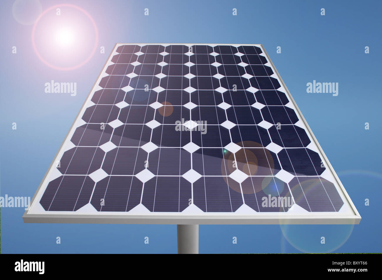 Solar Panel and sun with blue sky - Stock Image