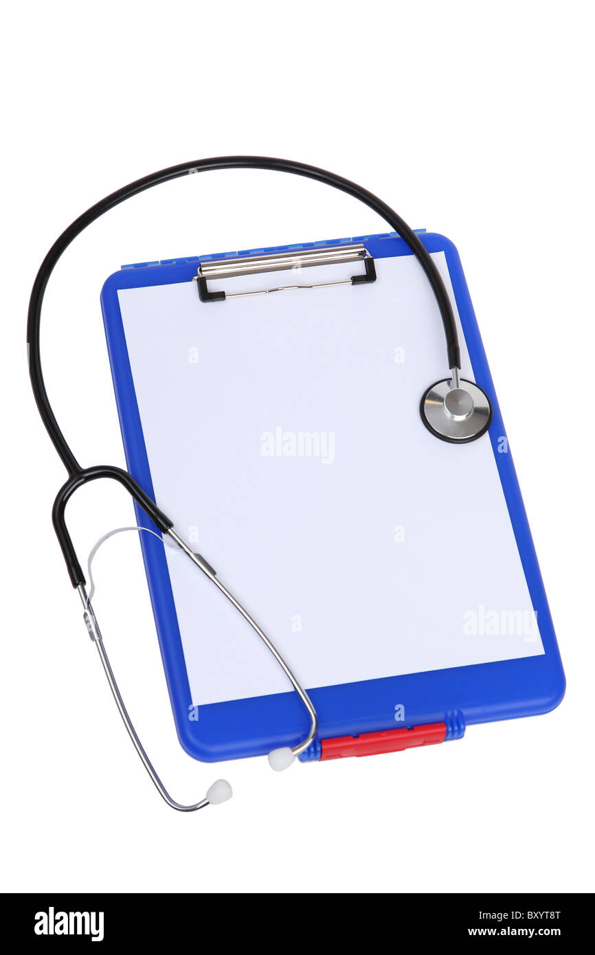 Medical clip board and stethoscope on white background - Stock Image