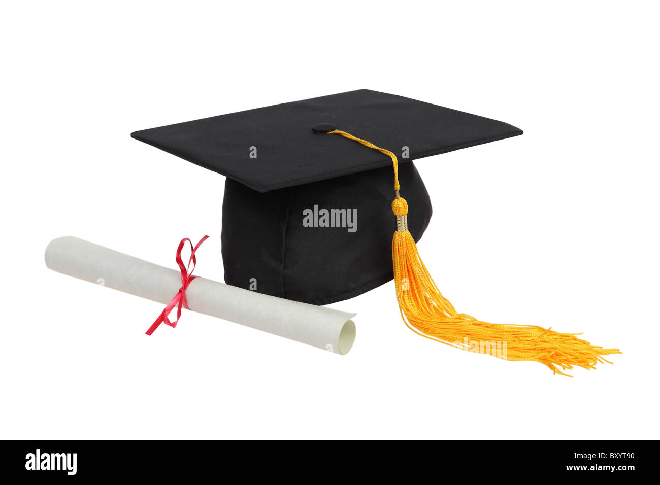 Graduation hat and diploma on white background - Stock Image
