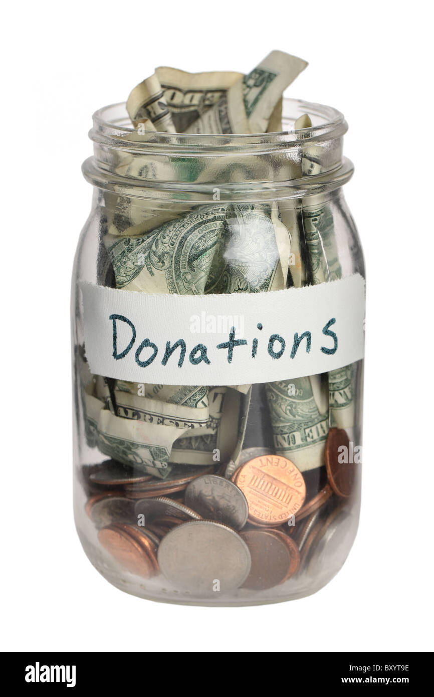 Donation jar on white background - Stock Image
