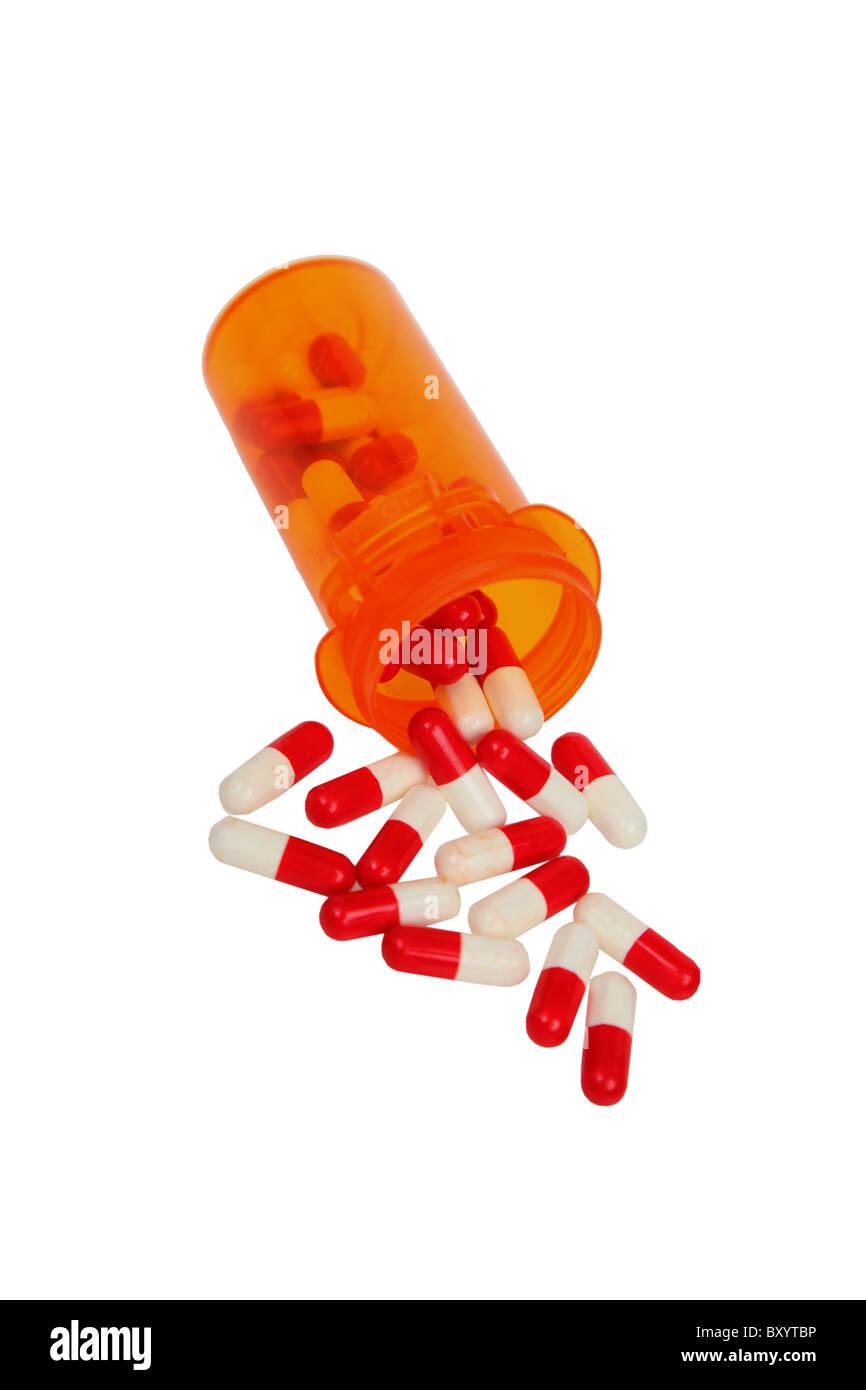 Medication pills on white background - Stock Image