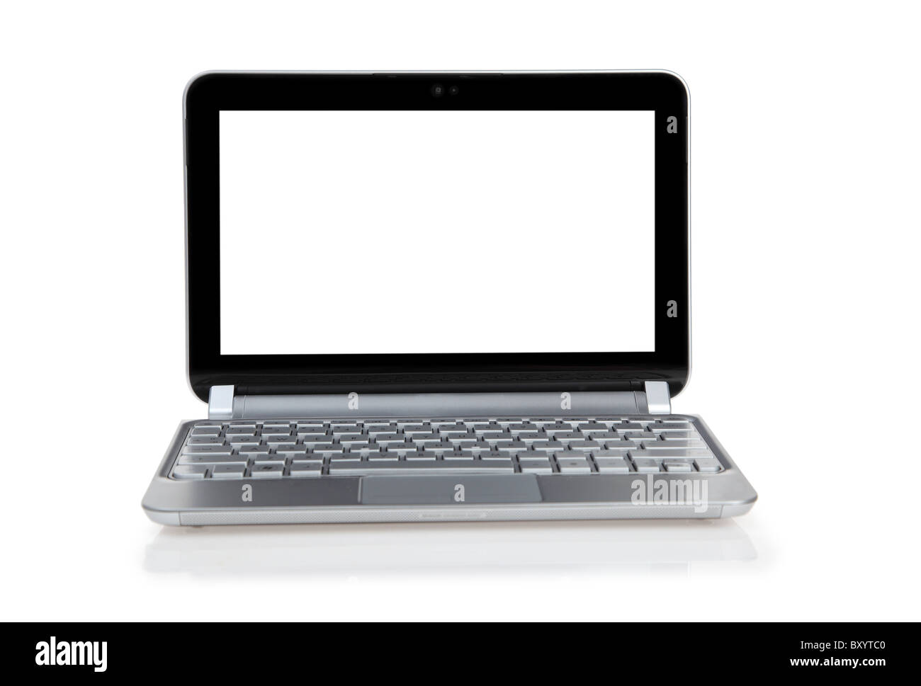 Laptop computer on white background - Stock Image