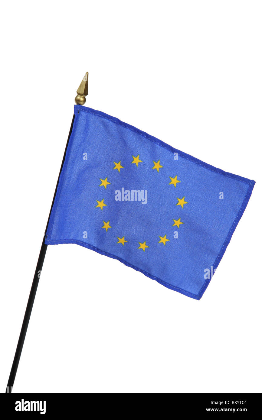European Union flag on white background - Stock Image