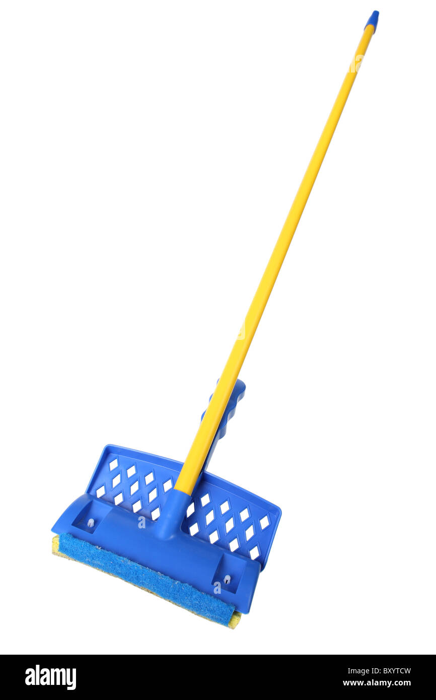Household mop on white background - Stock Image