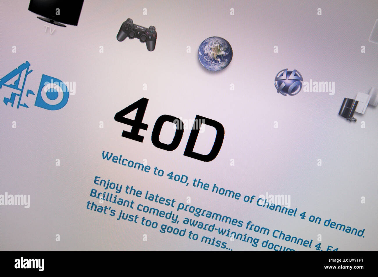 Channel 4 On Demand service 4OD as displayed on a HD High Definition ...
