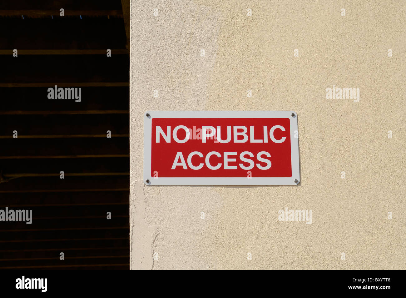 No Public Access sign on a wall. - Stock Image