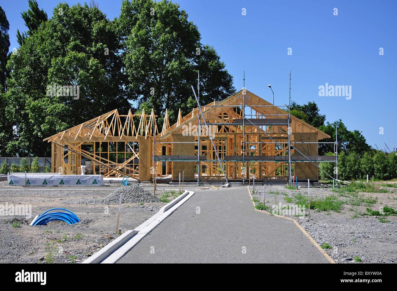 new wooden frame house under construction opawa christchurch stock