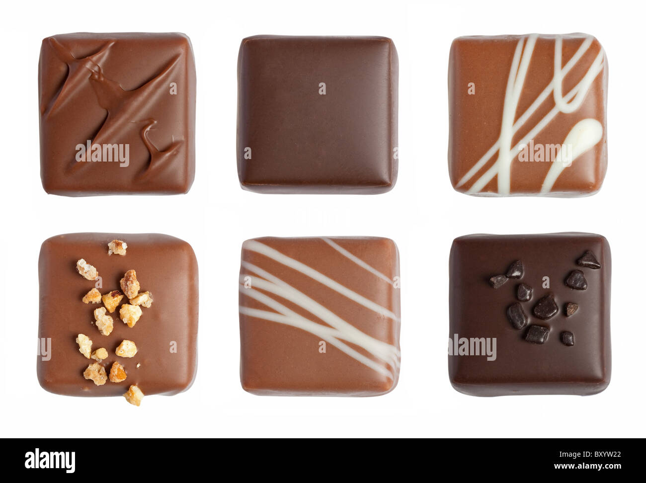 Handmade luxury chocolate isolated on white background - Stock Image