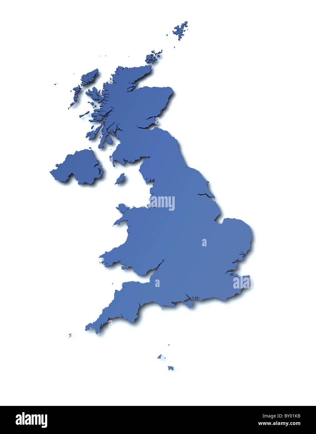 Rendered high resolution map of United Kingdom Stock Photo: 33807407