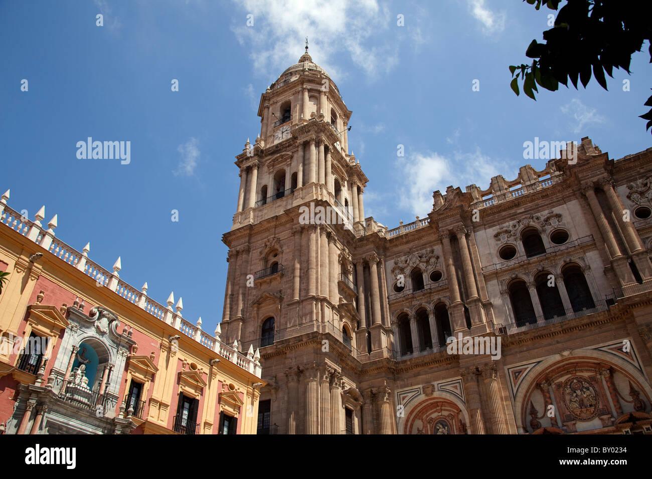 Palacio Episcopal y Catedral Málaga Andalucía España Episcopal Palace and Cathedral Andalusia Spain - Stock Image