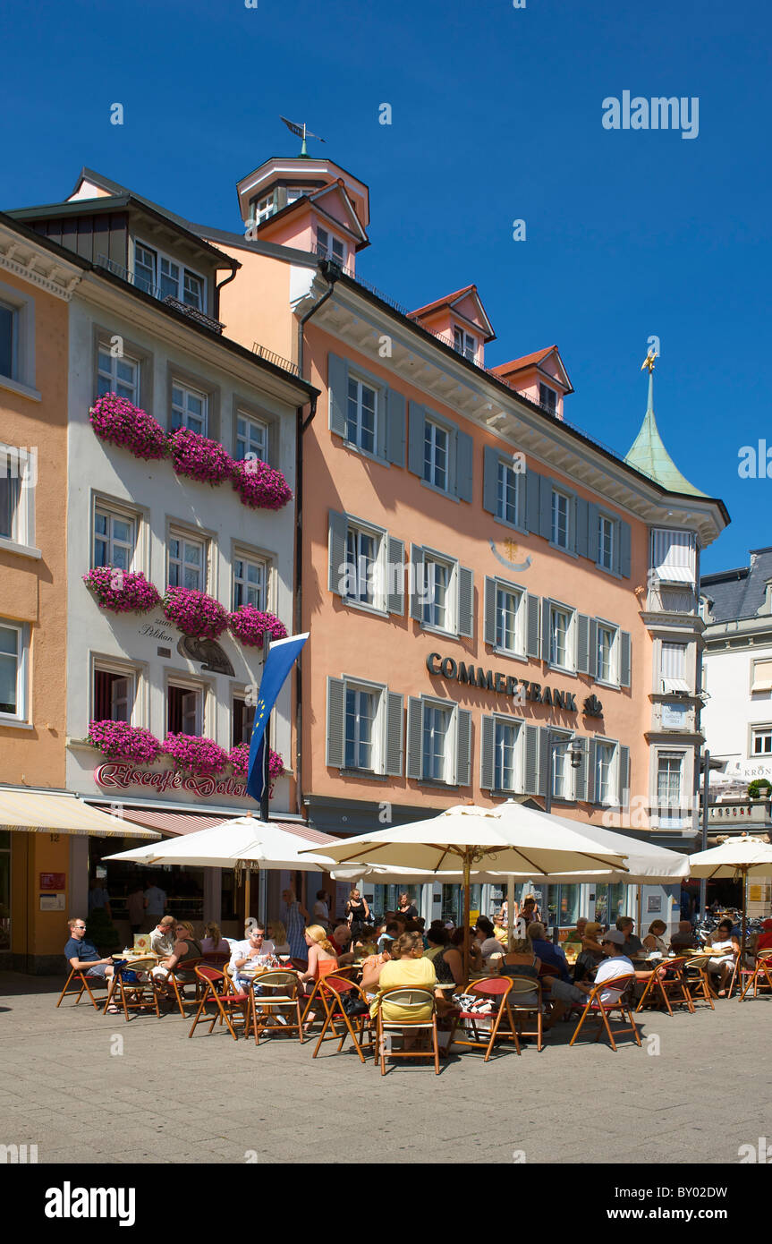 Street cafe in Constance, Lake Constance, Baden-Wuerttemberg, Germany - Stock Image