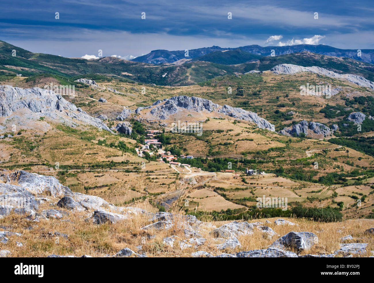 The village of Santibañez de Resoba, in the Palentine Mountains, part of the Cantabrian Mountain Range of northern - Stock Image