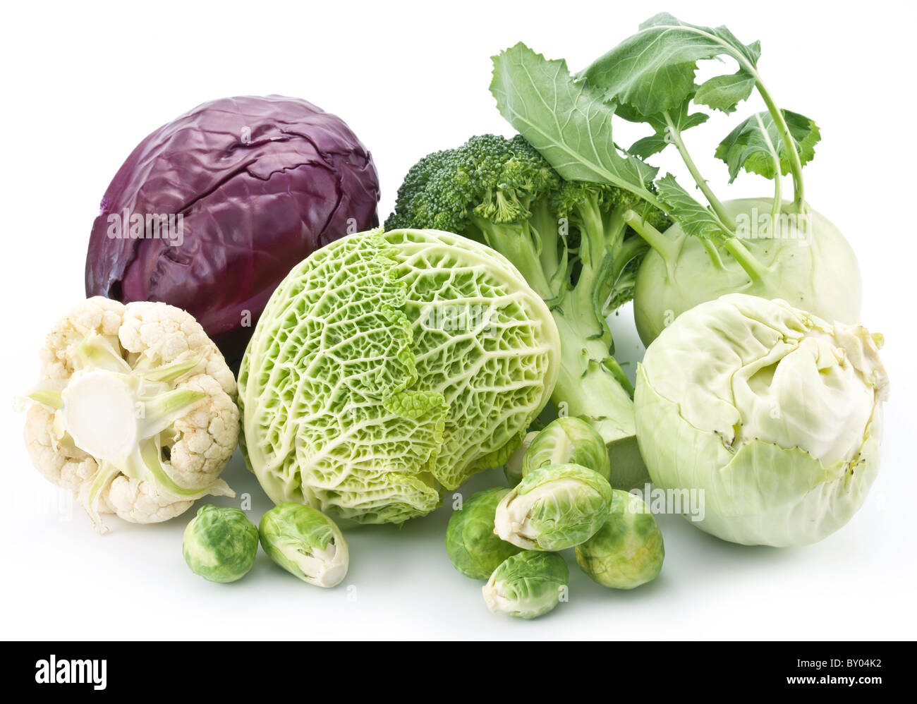 Collection of different varieties of cabbage on a white background. - Stock Image