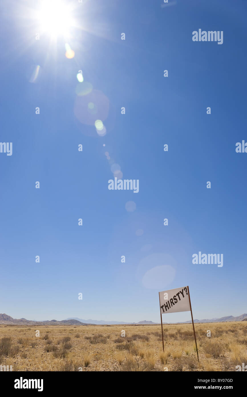 'Thirsty' sign in Namib desert, Namibia - Stock Image