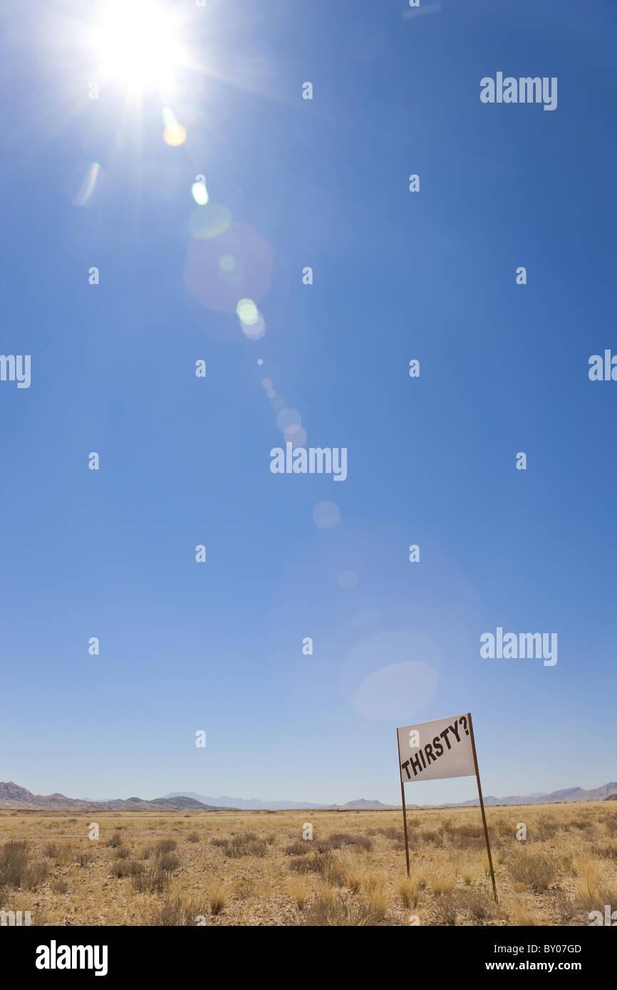 'Thirsty' sign in Namib desert, Namibia - Stock Image