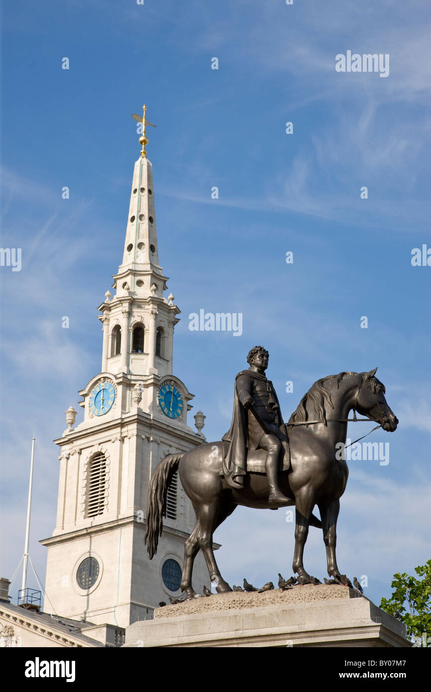 King George IV statue at Trafalgar Square with St Martin in the Fields Church in background Stock Photo
