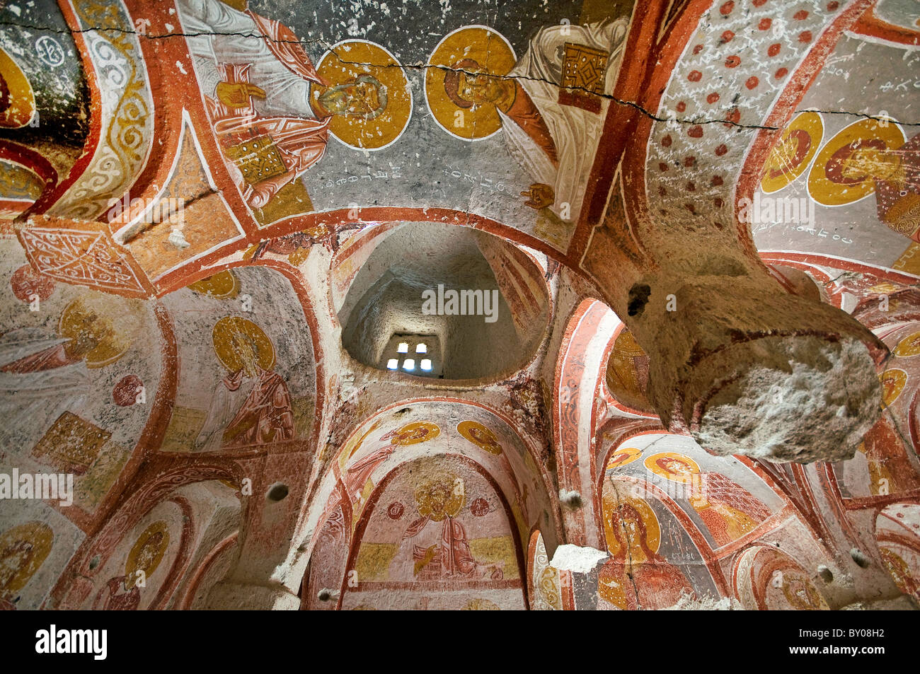 Interior view of rock carved Yusuf Koc Church Cappadocia Turkey - Stock Image