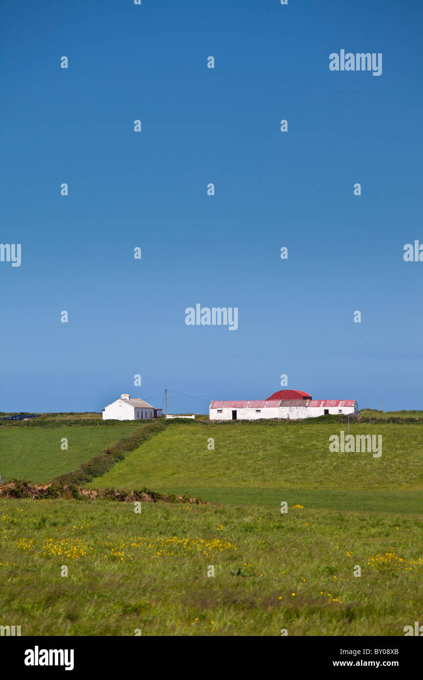 Smallholding farm with Dutch barn in Bealatha, County Clare, West of Ireland Stock Photo
