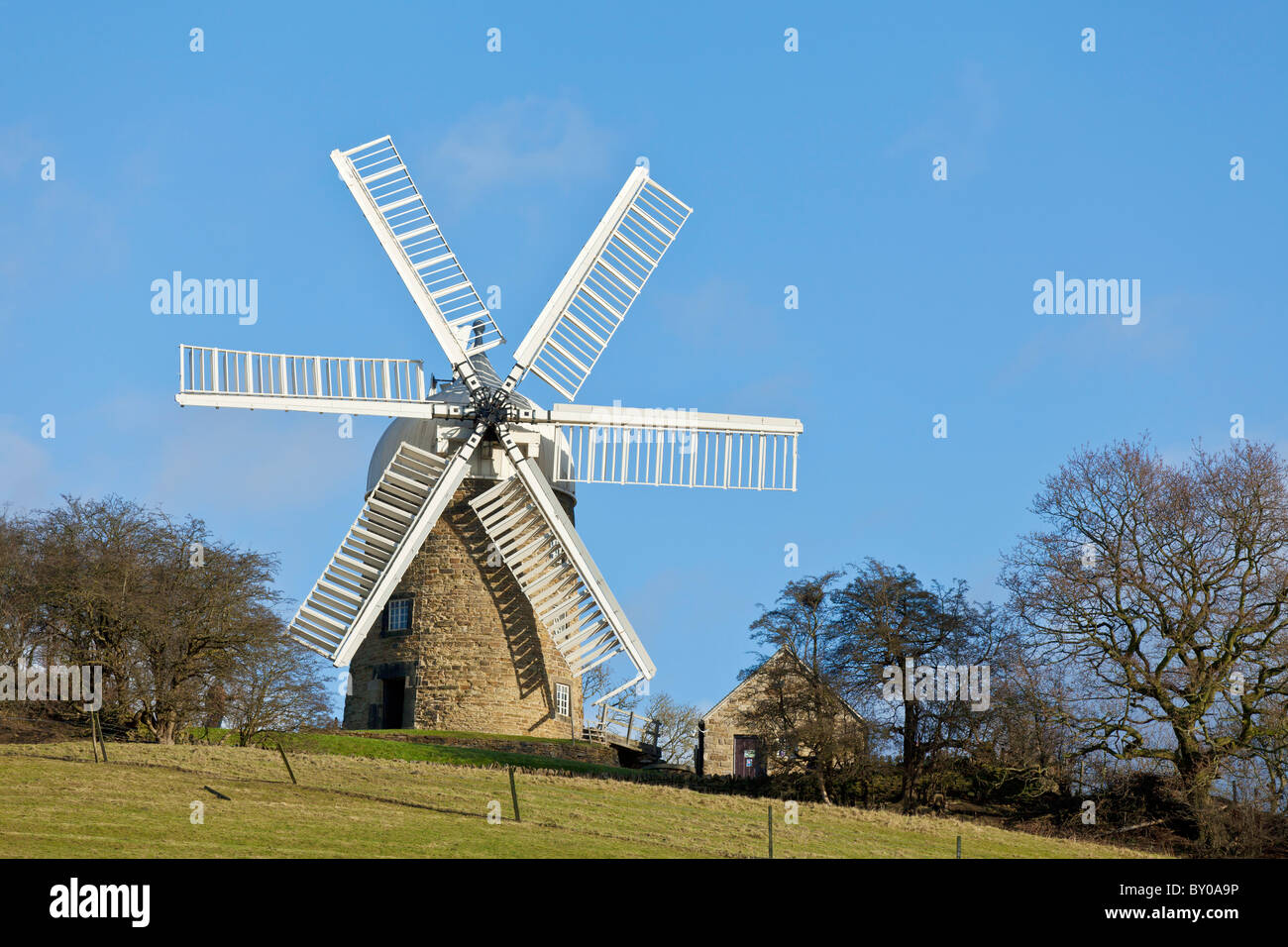Heage Windmill a six sailed stone windmill Heage village derbyshire england uk gb eu europe - Stock Image