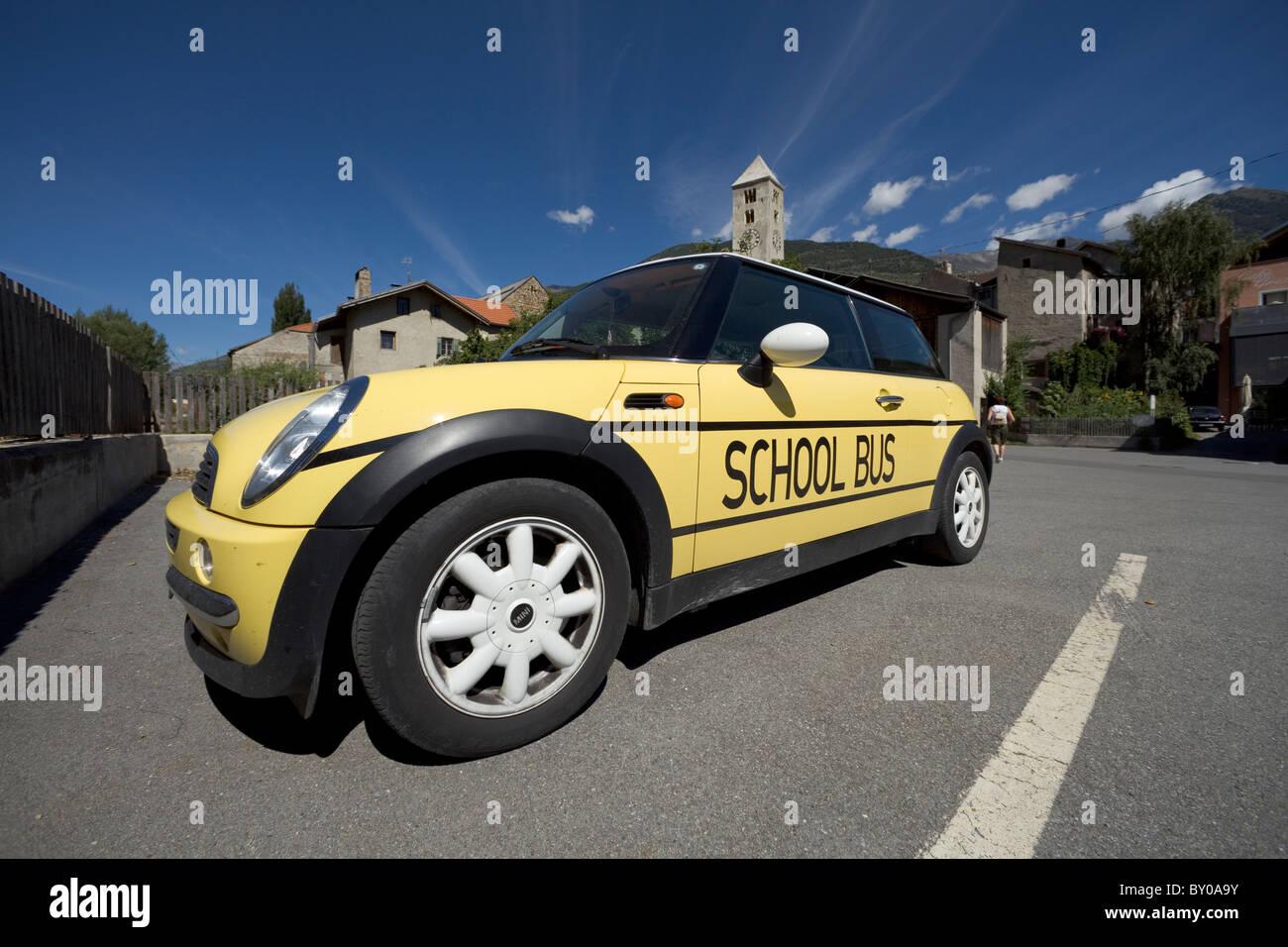 Mini car used as a 'School bus', Val Venosta/Vinschgau, Alto Adige/South Tyrol, Italy - Stock Image