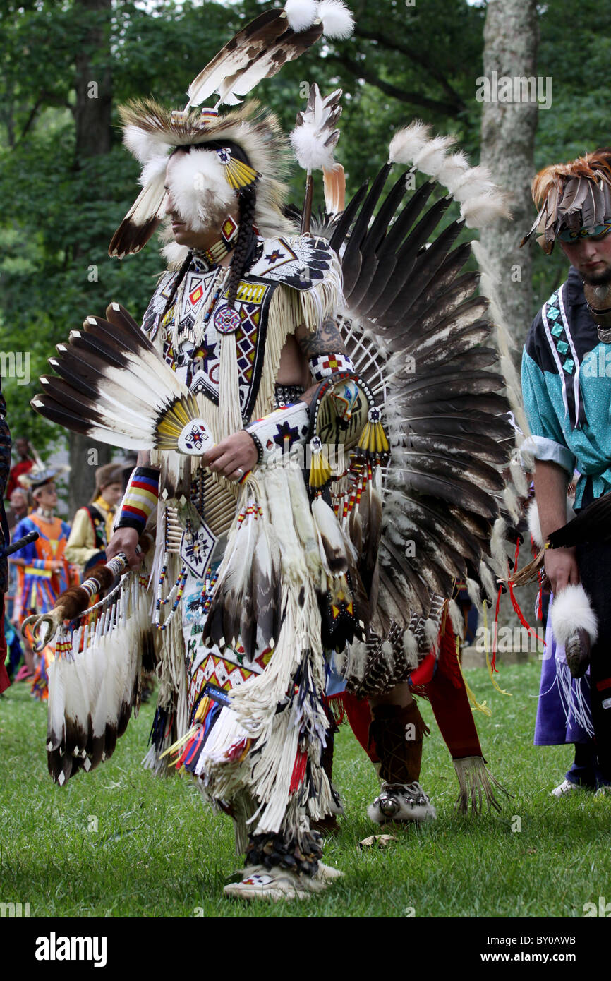 Native American Dancer Pow Wow Fort Ancient Ohio - Stock Image
