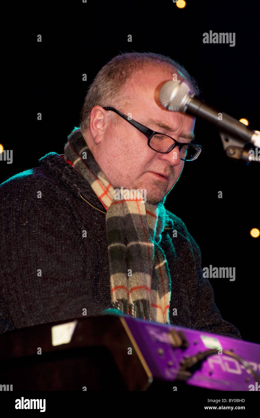Brian Kellock (jazz pianist) playing with his Trio in Edinburgh, Scotland, as part of their Hogmanay (New Year) - Stock Image