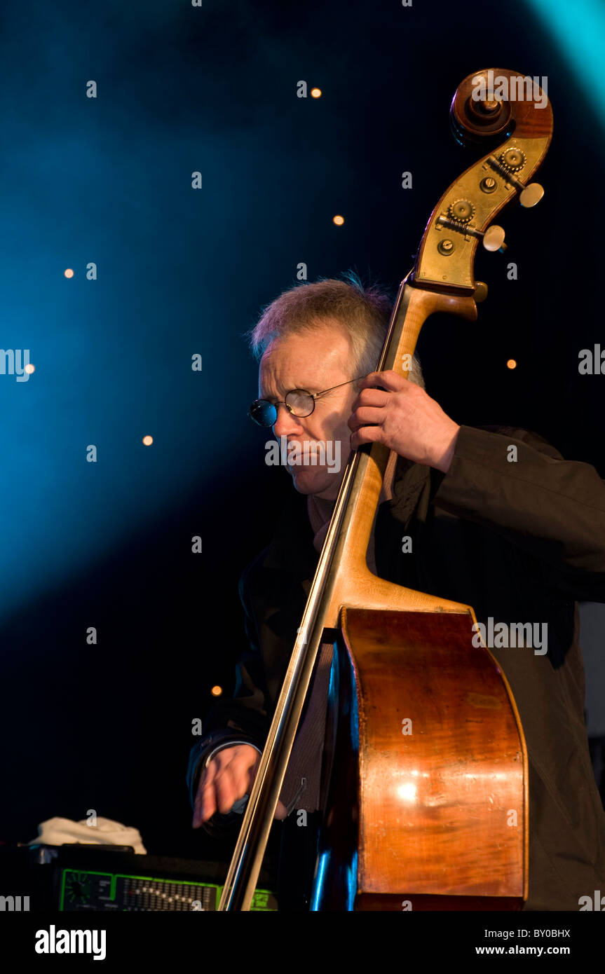 Kenny Ellis playing with the Brian Kellock Trio in Edinburgh, Scotland, as part of their Hogmanay (New Year) celebrations. - Stock Image