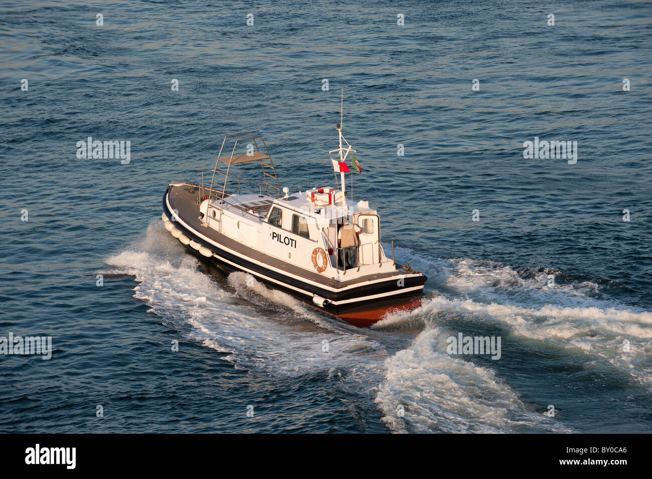 Harbour Pilot Boat Naples Campania Italy - Stock Image