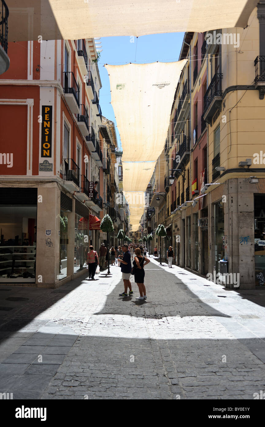 City centre streets in Granada, Spain on a hot & sunny August day - Stock Image