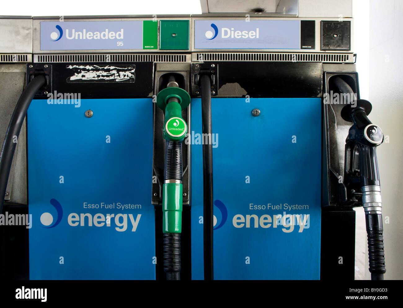 fuel pumps at a petrol station, uk - Stock Image