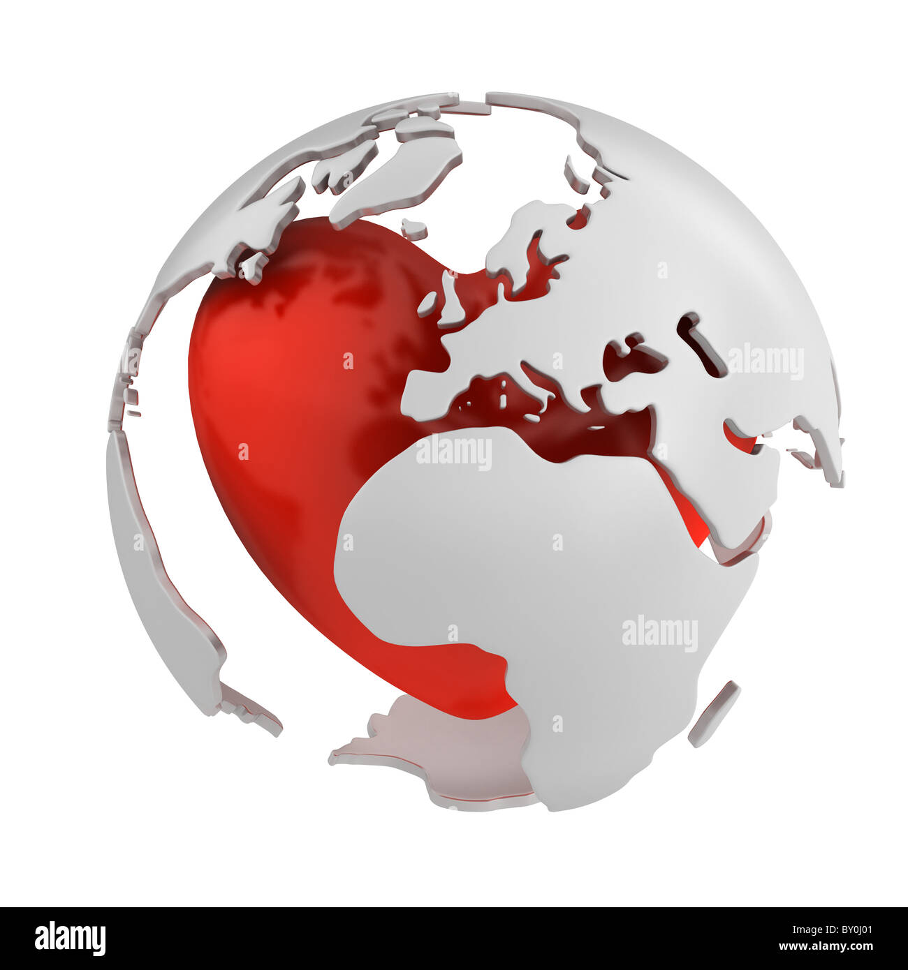 Globe with heart, Europe part isolated on white background - Stock Image