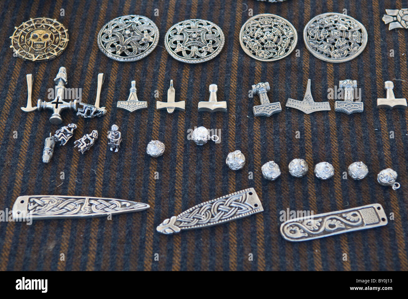 Close-up of Viking jewelery in silver. - Stock Image