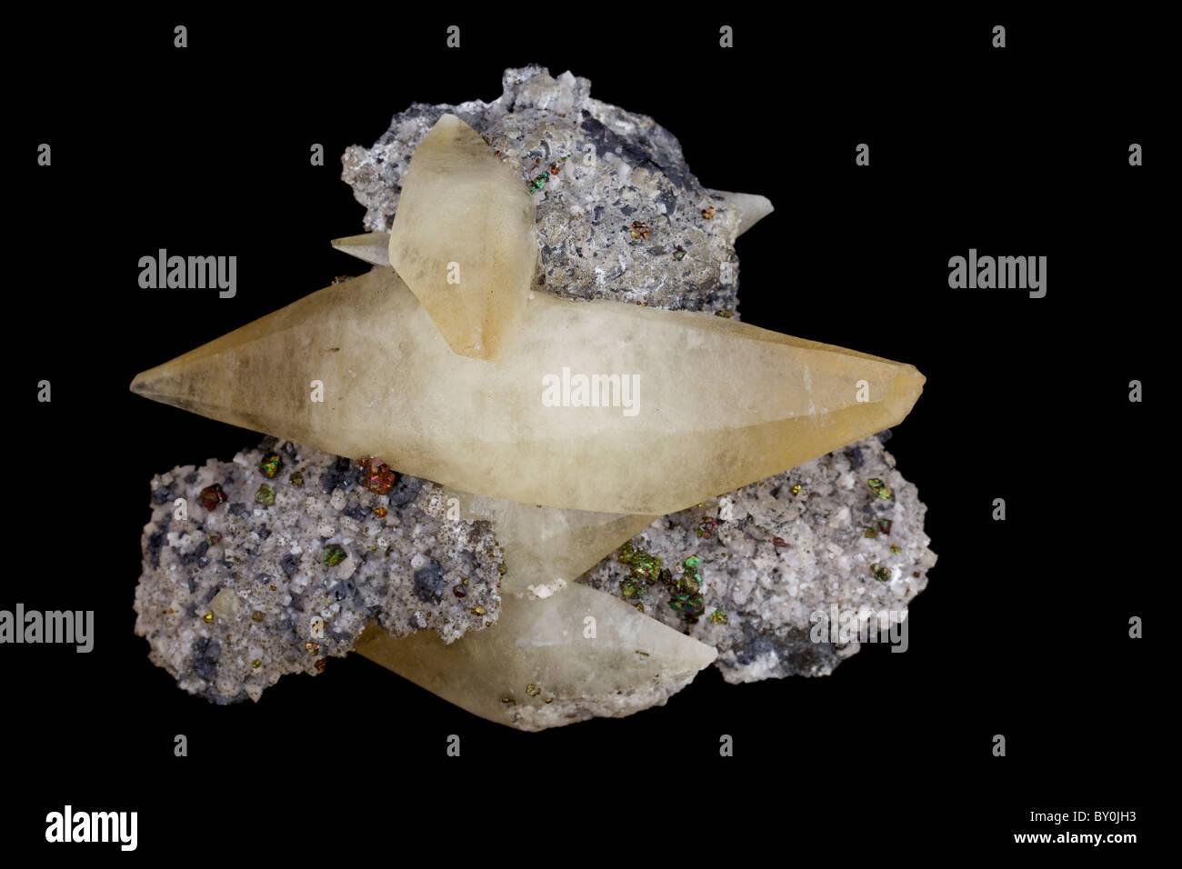 Calcite - Calcium carbonate - Sweetwater Mine - Viburnum Trend - Missouri - USA - One of the most common minerals - Stock Image