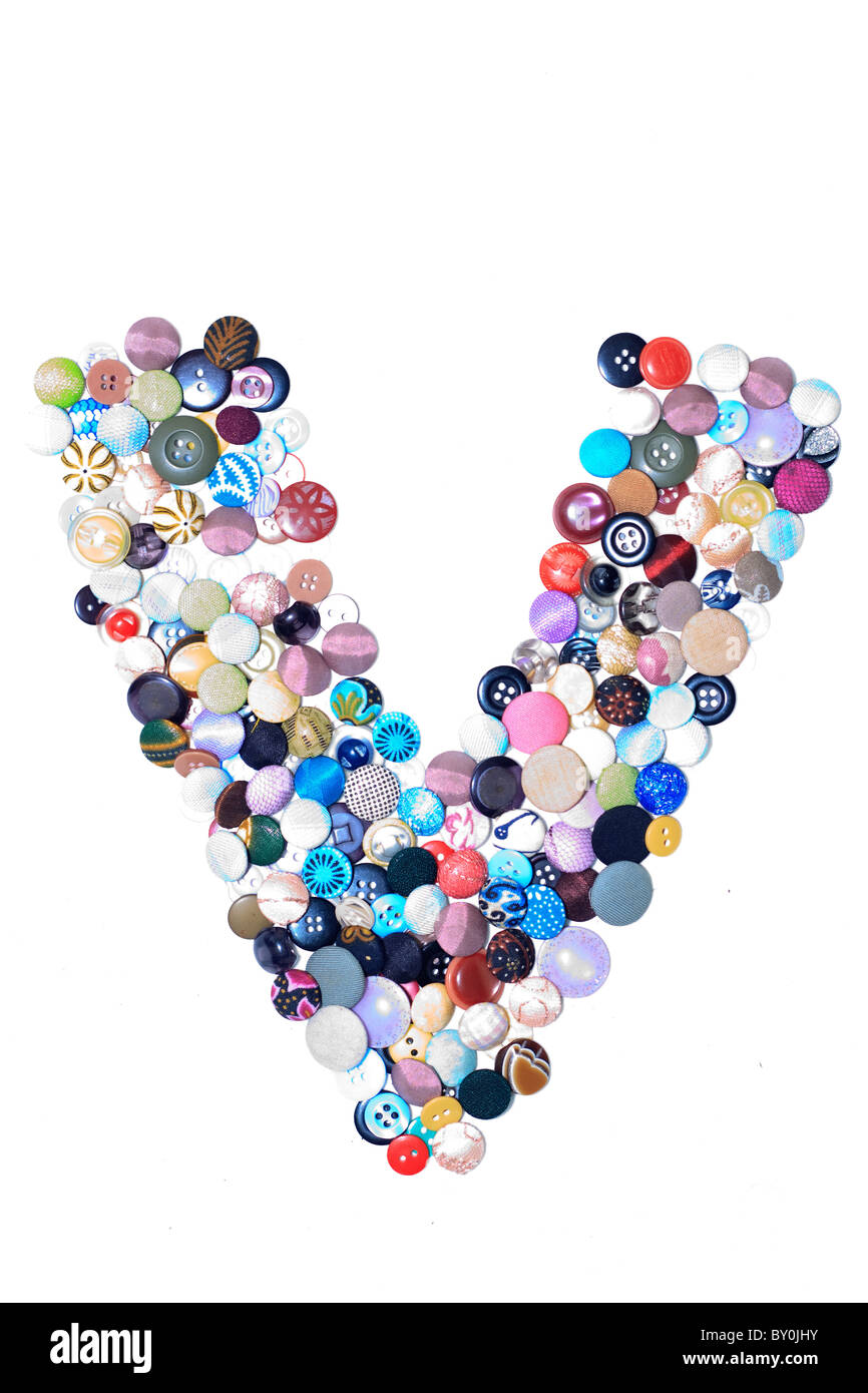 V letter of buttons - Stock Image