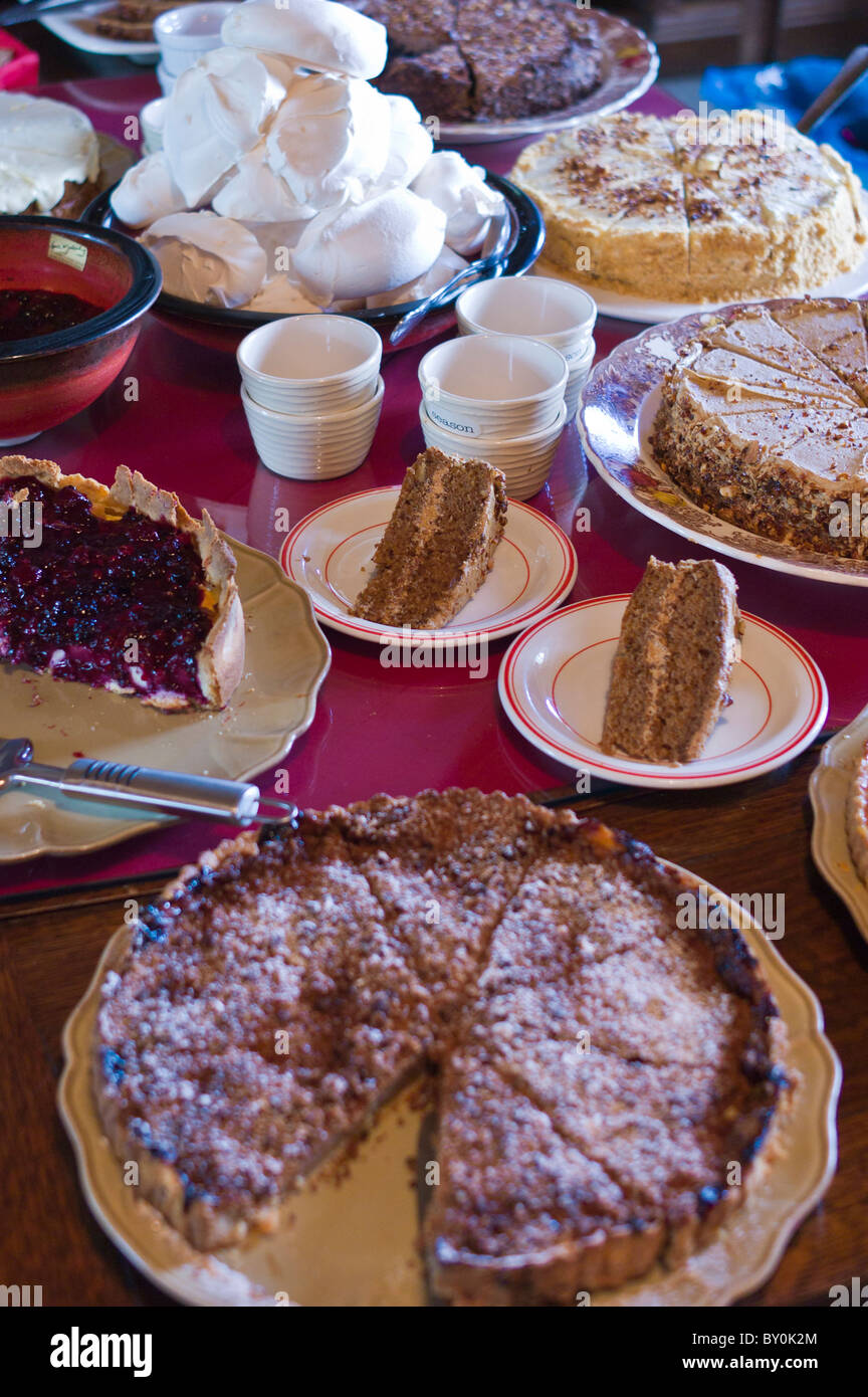 Home-baked cakes and tarts at An Fer Gorta traditional tearoom, Ballyvaughan, County Clare, West of Ireland - Stock Image