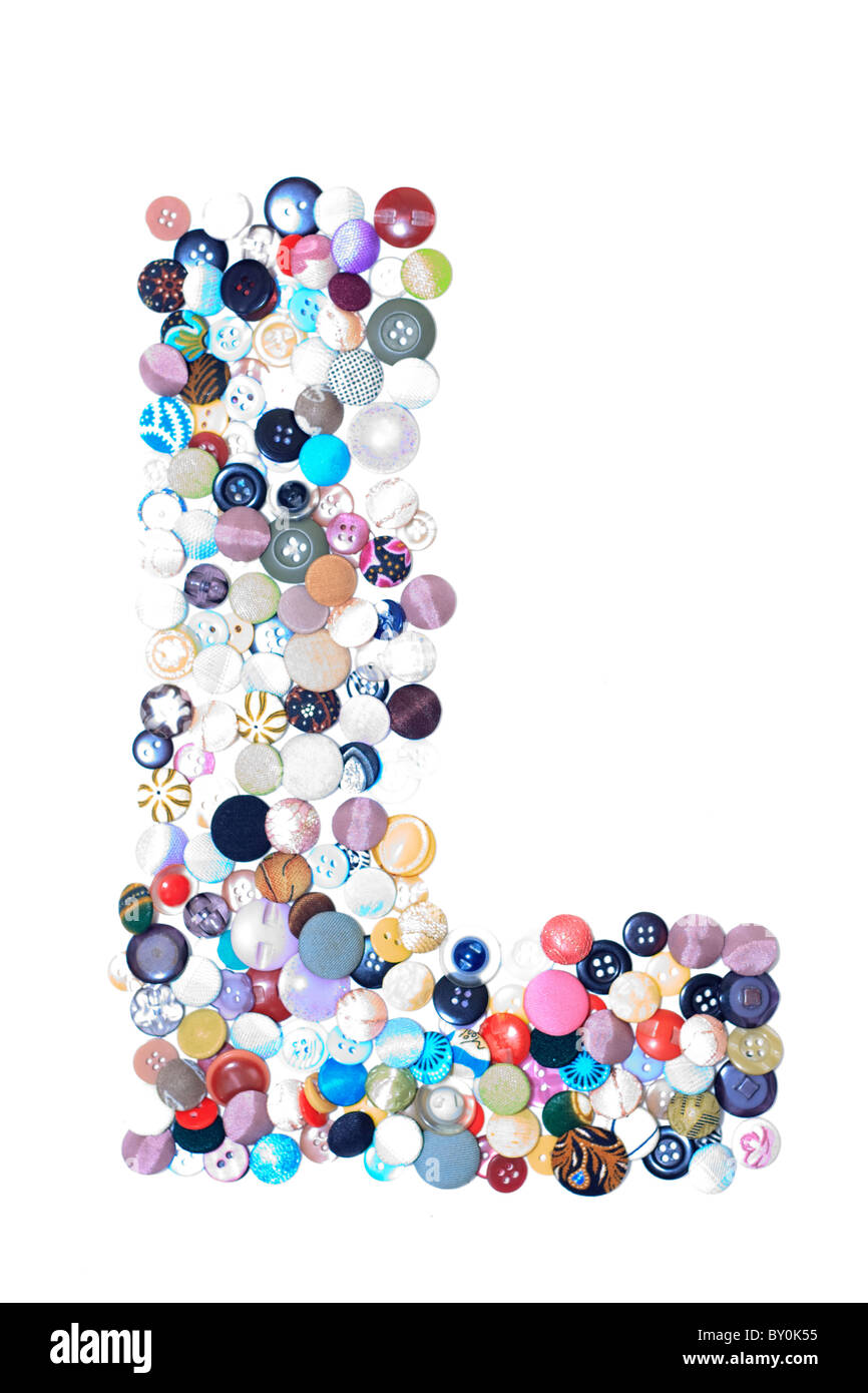 L letter of buttons - Stock Image