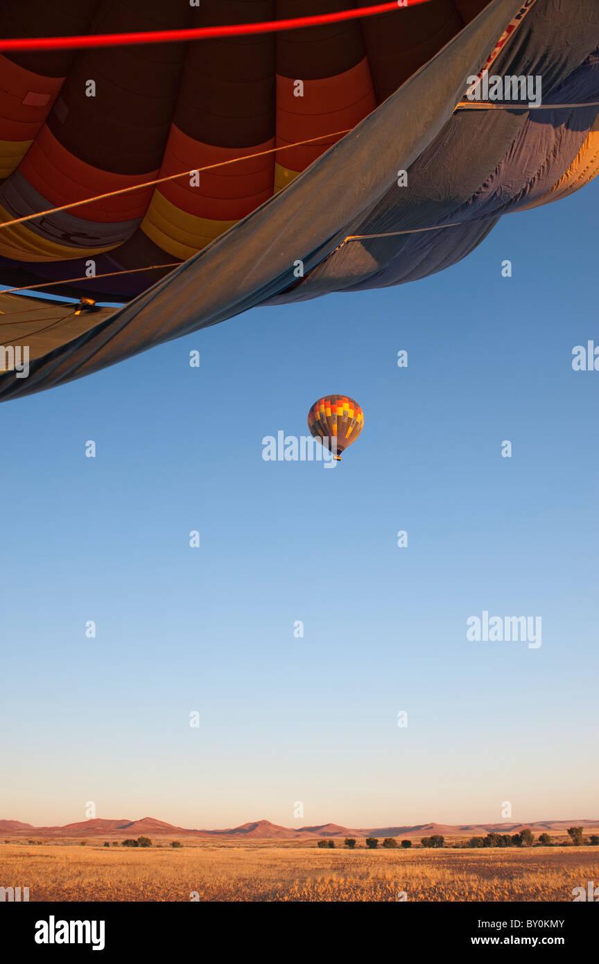 Hot air balloon flight in Namib-Naukluft Park, central Namibia. - Stock Image