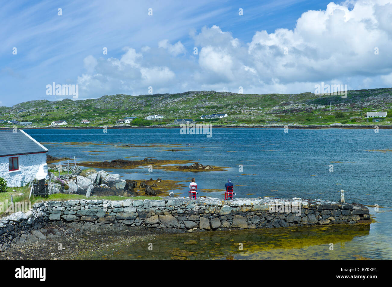 Couple enjoying the view in Connemara National Park, County Galway, Ireland - Stock Image
