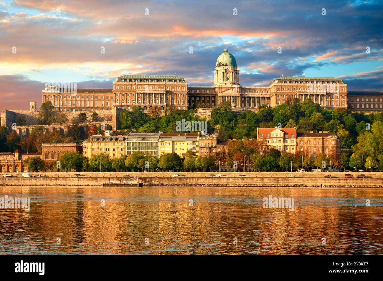 Buda Castle Hill with the Danube, Budapest, Hungary Stock Photo