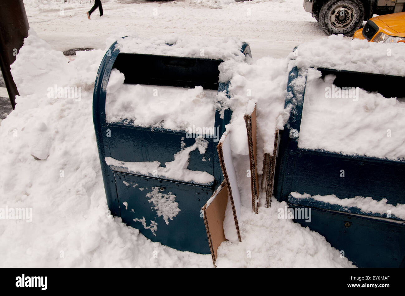 Snow Storm, December 26, 2010, United Staes Postal Service mail boxes, 5th Avenue - Stock Image