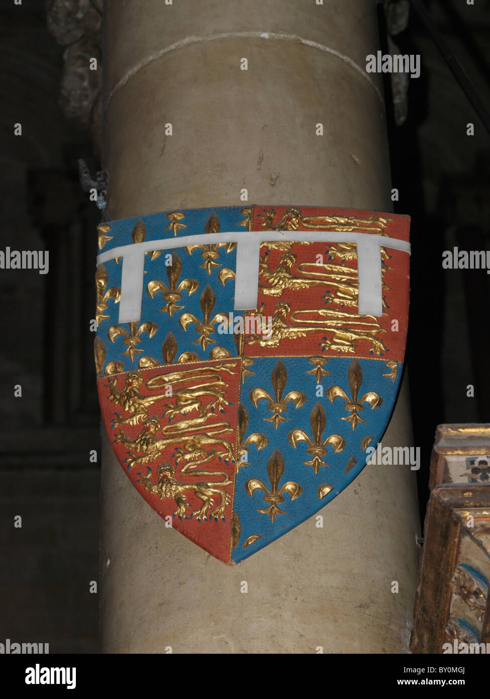 Canterbury Kent England Canterbury Cathedral Replica Of The Heraldic Shield Of Edward The Black Prince Of Wales - Stock Image