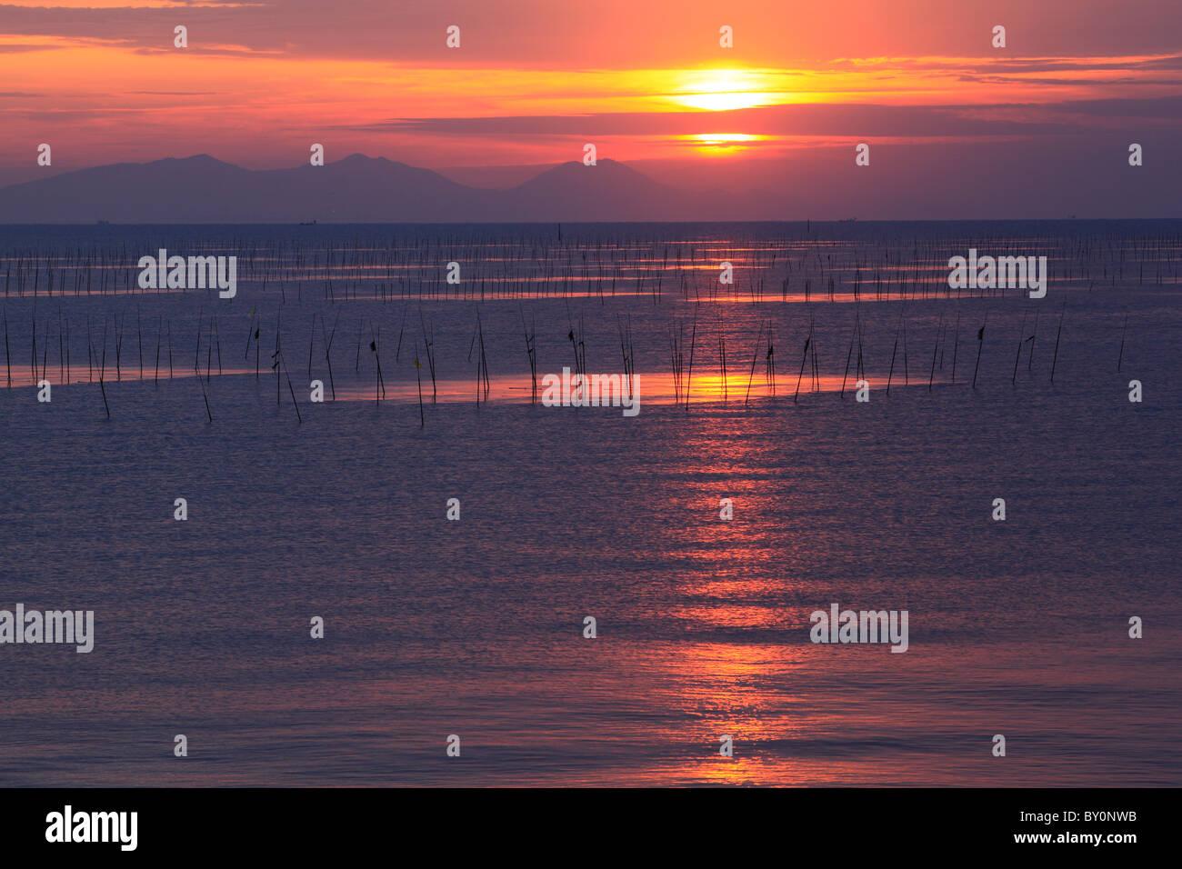 Morning Glow of Ariake Sea, Tara, Saga, Japan - Stock Image
