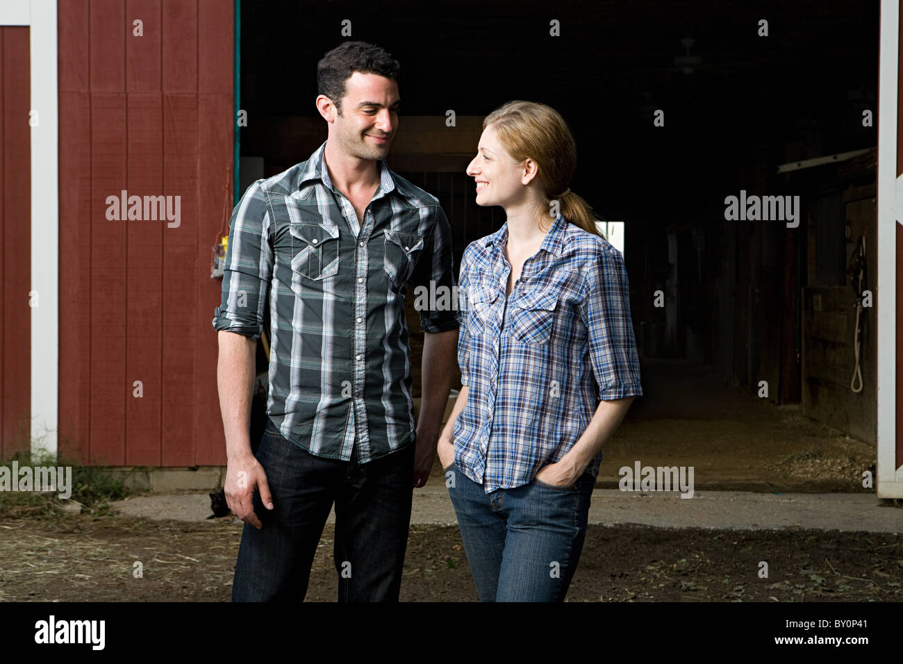 Couple at stable - Stock Image