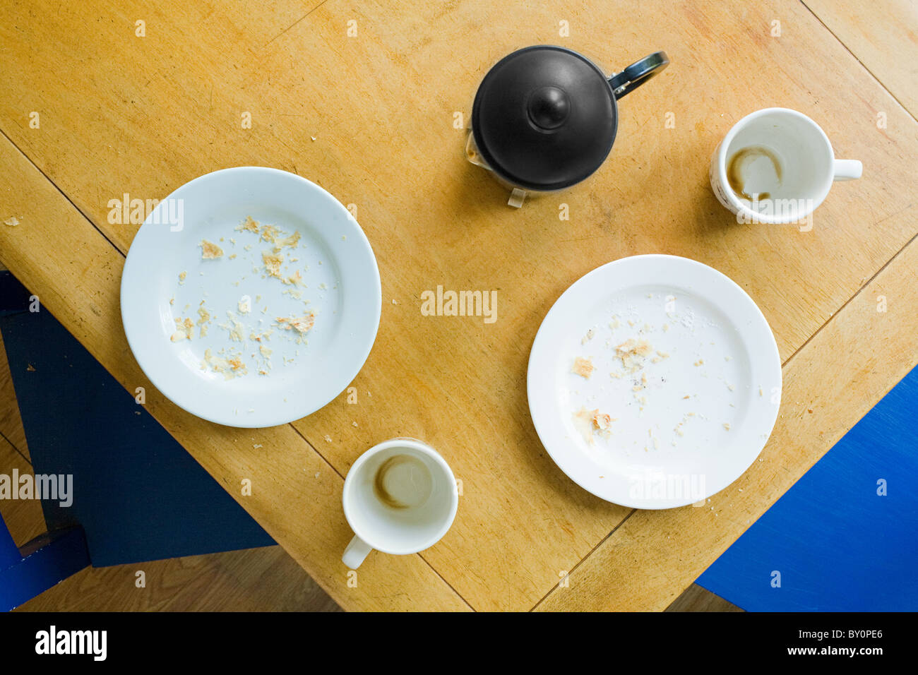 Overhead view of breakfast table Stock Photo