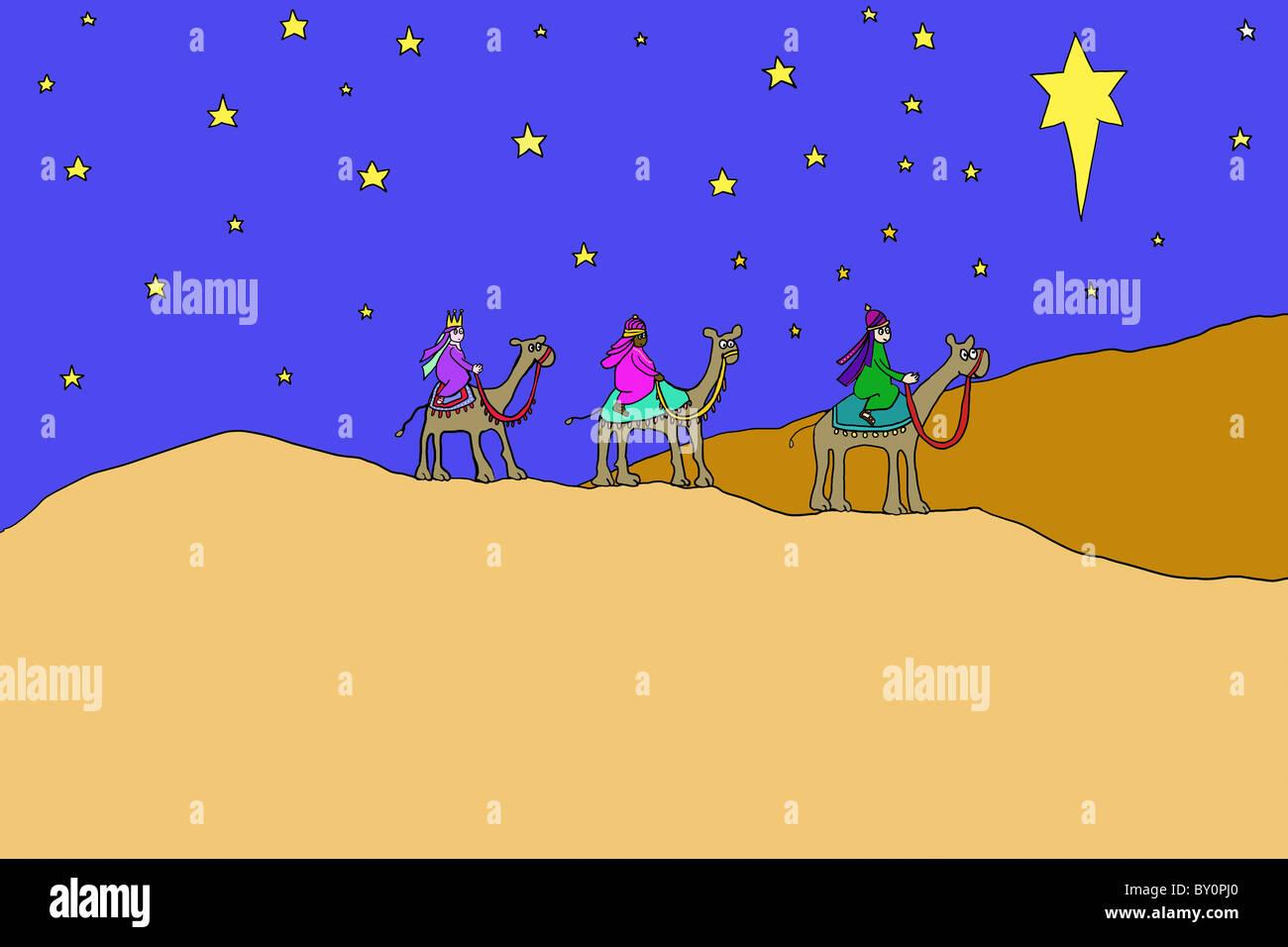 Three wise men following star - Stock Image