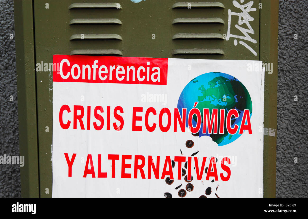 Poster for economic crisis and alternatives conference in Spain - Stock Image