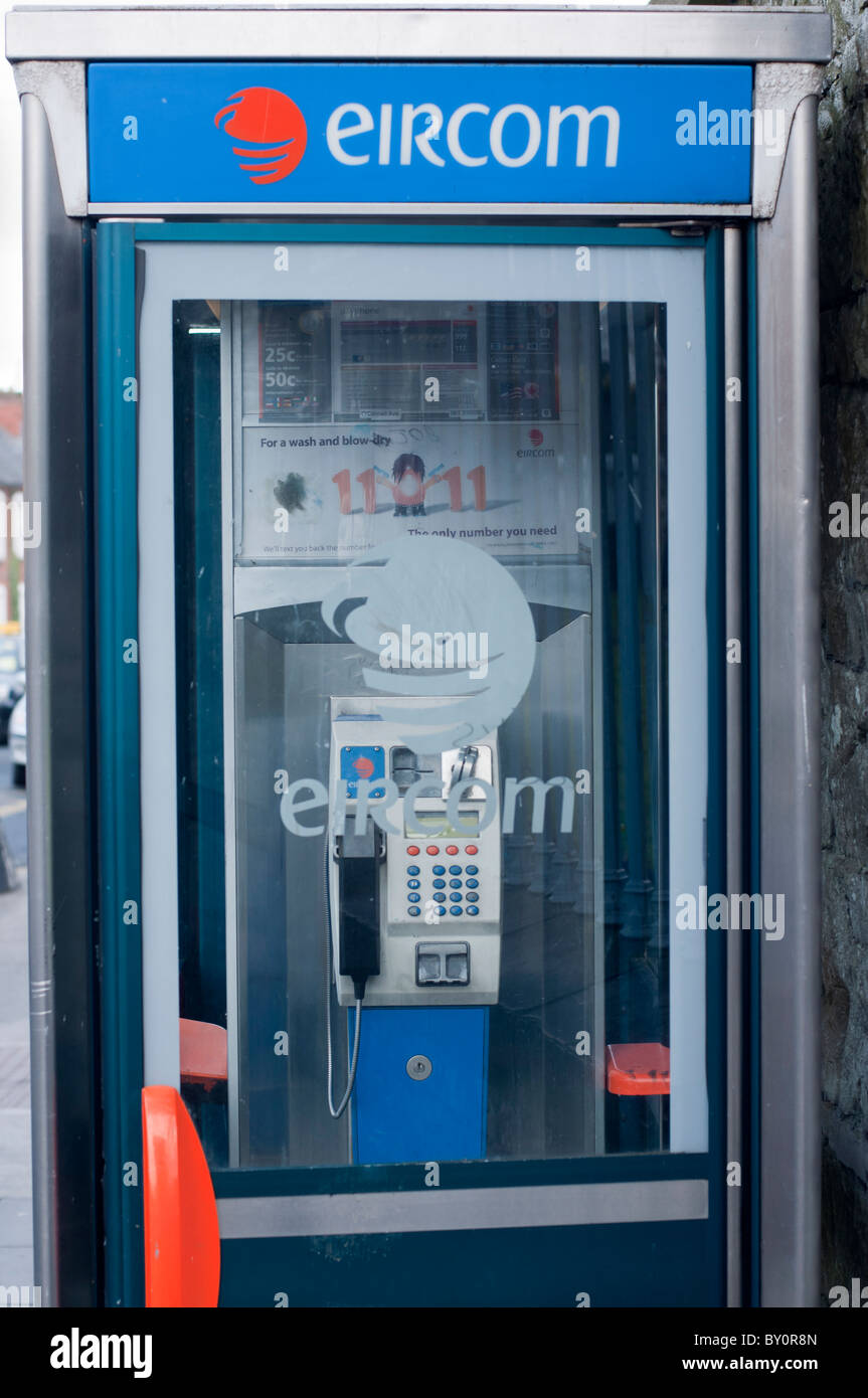 EIRCOM phone box in Limerick, Republic of Ireland Stock