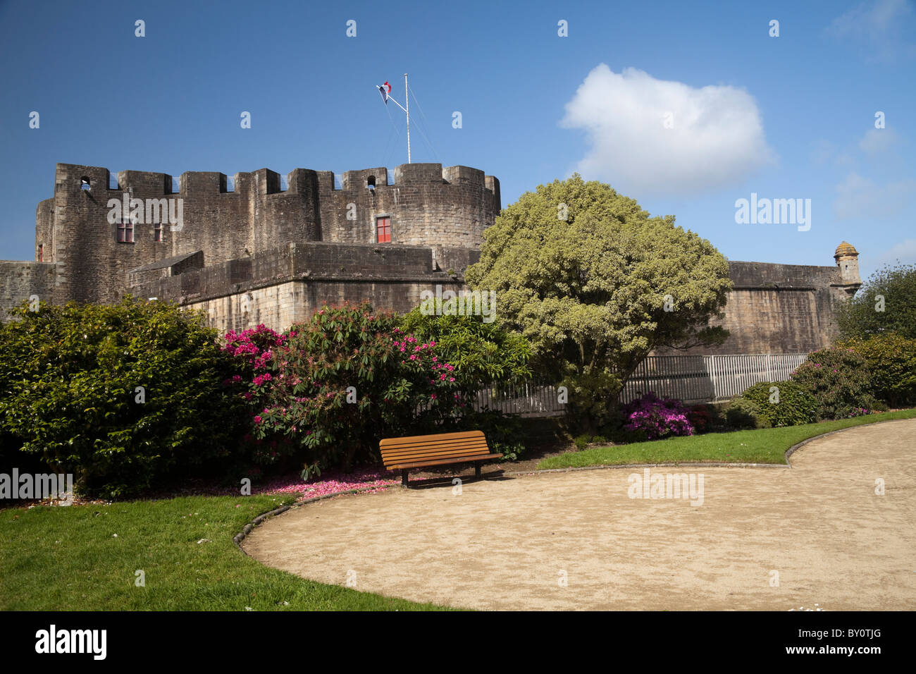 The fortress above the port of Brest in Brittany France - Stock Image